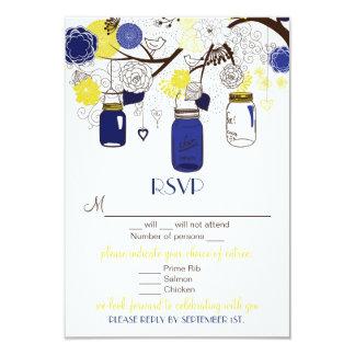 Blue & Yellow Floral Mason Jars RSVP Wedding Card