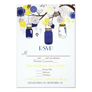 Blue & Yellow Floral Mason Jars RSVP Wedding Card 9 Cm X 13 Cm Invitation Card