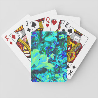 Blue Yellow Flower Bush Digital Photo Art Playing Cards