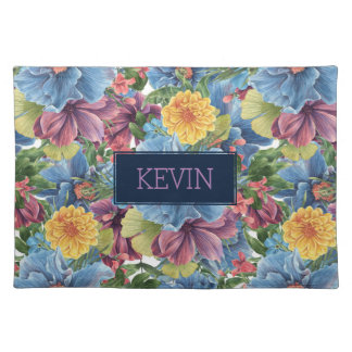 Blue & Yellow Flowers Collage Placemat