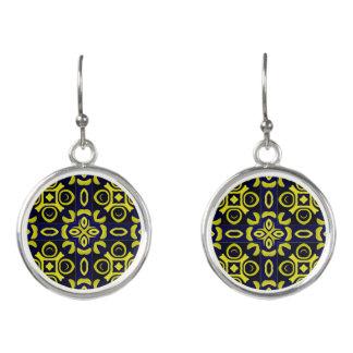 Blue/Yellow- Geometric  Design Earrings