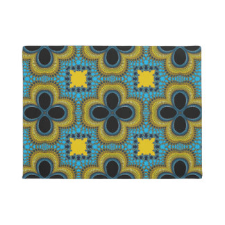 Blue Yellow Geometric Floral Medallion Door Mat