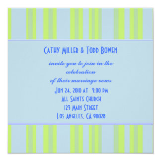 blue yellow green striped wedding card