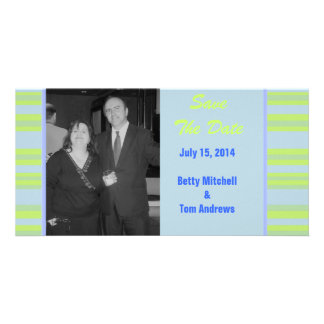 blue yellow green striped wedding customized photo card