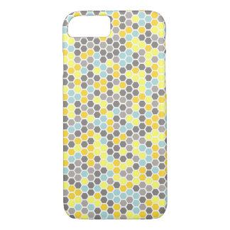 Blue, Yellow, Grey Hexagon Mosaic Phone Case