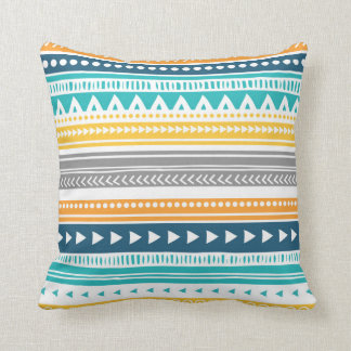 Blue Yellow Grey Tribal Decorative Pillow Cushions