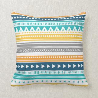 Blue Yellow Grey Tribal Decorative Pillow Cushions