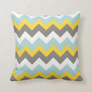 Blue, Yellow, Grey, White Chevron Zigzag Pillow