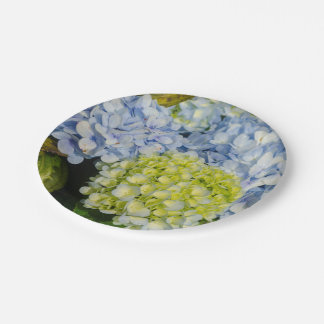 Blue Yellow Hydrangea paper plate 7 Inch Paper Plate