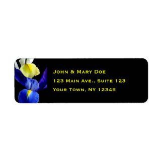 Blue & Yellow Iris Flowers 4b Return Address Label