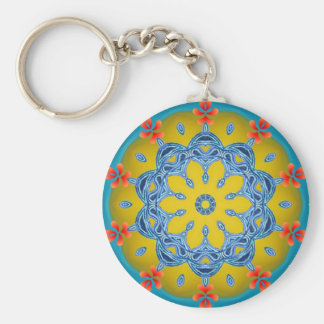 Blue & Yellow Kaleidoscope Basic Round Button Key Ring