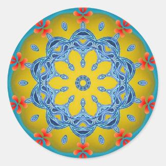 Blue & Yellow Kaleidoscope Classic Round Sticker