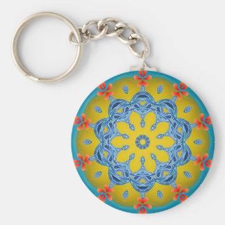 Blue & Yellow Kaleidoscope Keychain