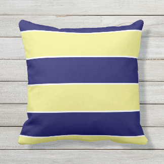 blue & yellow large stripes cushion