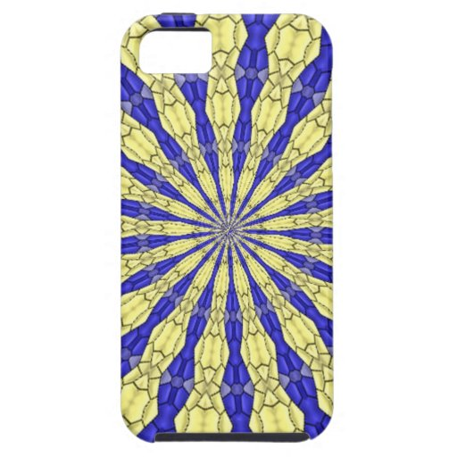 Blue & Yellow line from the middle pattern iPhone 5/5S Covers
