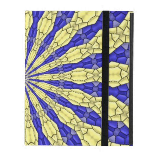 Blue & Yellow line from the middle pattern iPad Case