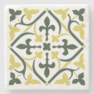 Blue&yellow medieval style ornament Stone Coaster