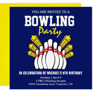 Blue Yellow Modern Bowling Party Birthday Invite