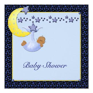 Blue Yellow Moon Stars Boy Ethnic Shower Card