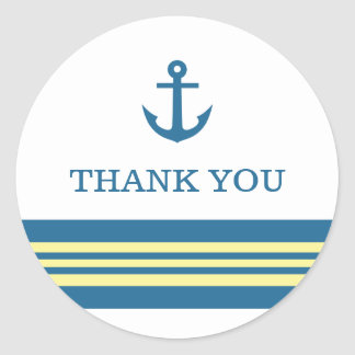 Blue Yellow Nautical Anchor Thank You Stickers