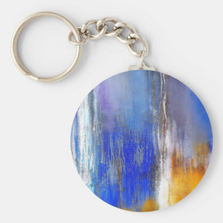 Blue Yellow Organic Abstract Button Keychain