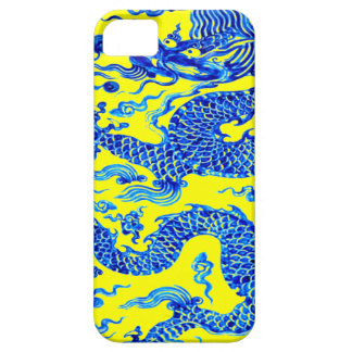 Blue Yellow Oriental Dragon Art Iphone Case