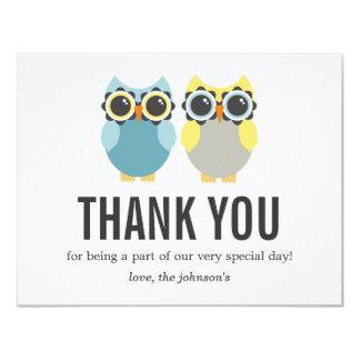 Blue & Yellow Owl Design Wedding Thank You Cards 11 Cm X 14 Cm Invitation Card