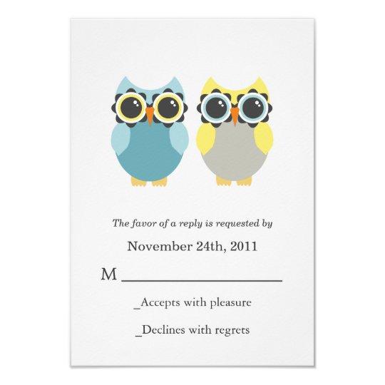 Blue & Yellow Owls Wedding RSVP Cards Invites