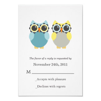 Blue & Yellow Owls Wedding RSVP Cards Invites