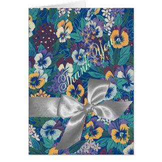 Blue Yellow Pansies Silver Bow Thank You Greeting Cards