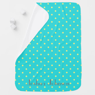 Blue & yellow polkadot personalised name buggy blanket