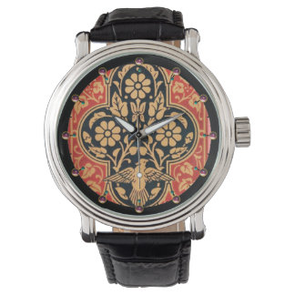BLUE YELLOW RED DAMASK FLOWERS WITH DOVE Floral Watch