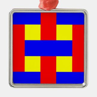 Blue, Yellow & Red Flannel Stripes Metal Ornament
