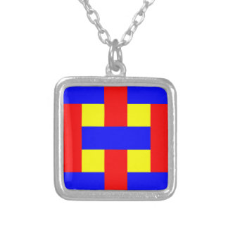 Blue, Yellow & Red Flannel Stripes Silver Plated Necklace