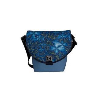 Blue & Yellow Ripple Fluid Fractal Messenger Bag