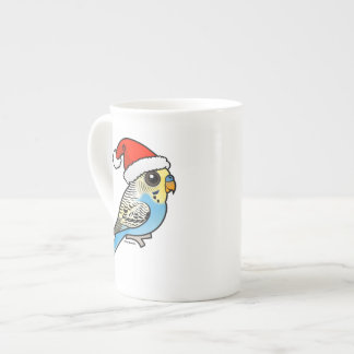 Blue & Yellow Santa Budgie Tea Cup