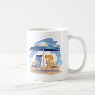 Blue & Yellow Striped Beach Chairs & Umbrella Coffee Mug