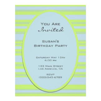 blue yellow striped party 21.5 cm x 28 cm flyer