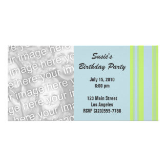 blue yellow striped party photo cards