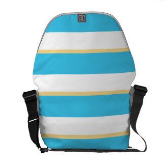 Blue Yellow Stripes Messenger Bag Outside Print