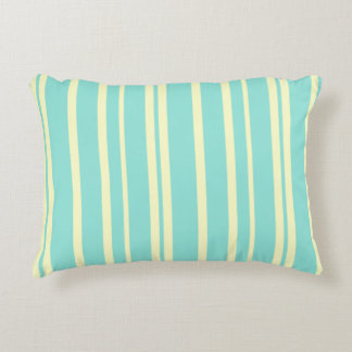 Blue & Yellow Stripes Shabby Chic Accent Pillow