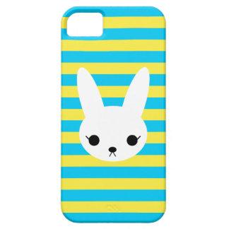 Blue Yellow Stripes White Bunny  iPhone Case