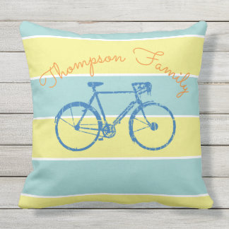 blue & yellow stripes with bicycle, family outdoor cushion