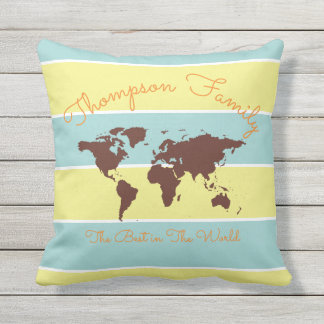 blue & yellow stripes with world map, family outdoor cushion