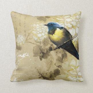 Blue Yellow Thrush Bird - Chinese Painting Art Throw Pillow