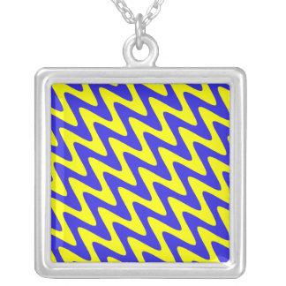 Blue & Yellow Wavy Zigzag Necklaces