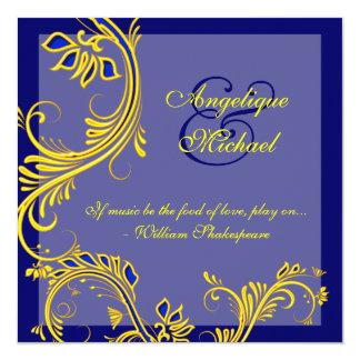 Blue yellow wedding anniversary engagement 13 cm x 13 cm square invitation card