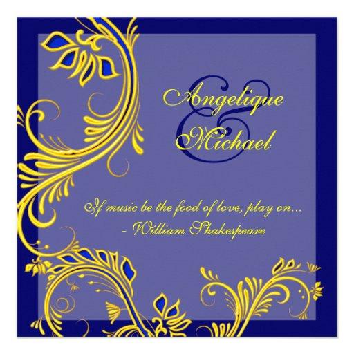 Blue yellow wedding anniversary engagement custom invitation