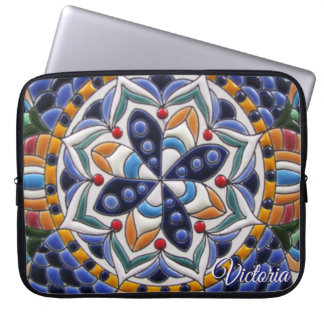 Blue Yellow White Ceramic Art Pattern Laptop Sleeve