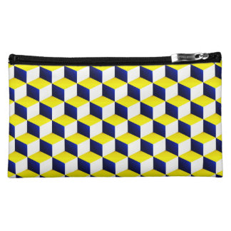 Blue, Yellow, White Shaded 3D Look Cubes Cosmetic Bags